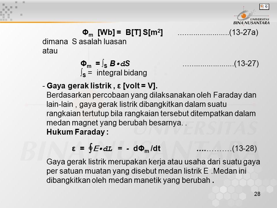 Φm [Wb] = B[T] S[m2] ........................(13-27a) dimana S asalah luasan. atau.